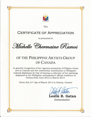 Michelle chermaine artist writer designer official site michelle chermaine received a certificate of appreciation from the philippine ambassador yadclub Gallery